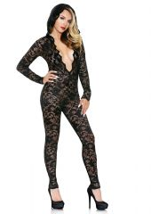 Mia Lace Hooded Jumpsuit Black S/M