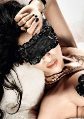 SATIN LACE SLEEP MASK BLACK